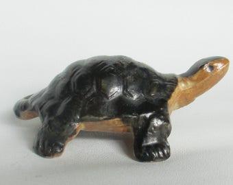 STONEWARE TURTLE FIGURINE, vintage ceramic turtle figurine with hand painted details / retro tortoise collectible animal