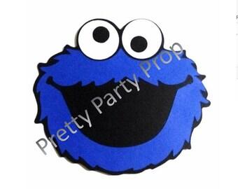 Set of 10  5' Cookie Monster die cuts, Cookie Monster cut out, Cookie Monster scrapbooking