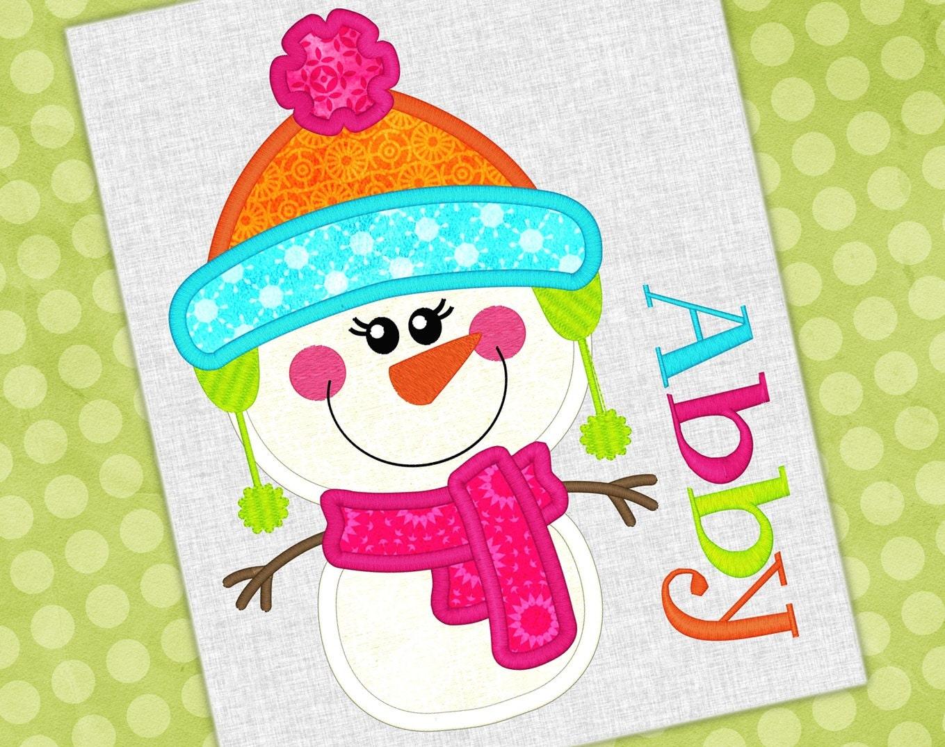Snowman girl applique embroidery design winter