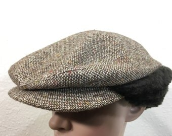 80's wool newsboy hat made in usa size 7