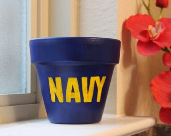Navy Themed Flower Pot