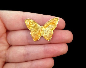 brooch, vintage yellow butterfly pin
