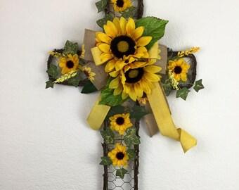 Sunflower cross, Cross with Sunflowers, Cross Door decor, Beautiful Cross