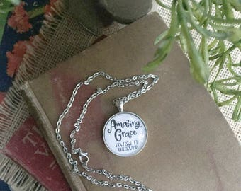Amazing Grace Pendant Necklace/ Song Lyrics Jewelry/Hymns/
