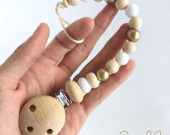 Dummy clip pacifier chain soother holder gold wood silicone newborn girl baby shower gift attache sucette portacuccio schnullerkette