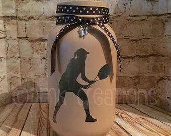 Tennis Player Painted Mason Jar Tea Light Candle Holder, tennis player, painted mason jar, tea light candle holder, tennis, mason jar, gift