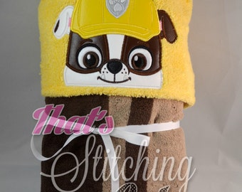 Paw Patrol Rubble Pup inspired Hooded Bath Towel