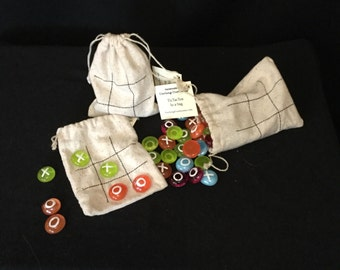 Tic Tac Toe in a reusable bag play set with hand painted gems+made in Washington+playtime+handmade gift