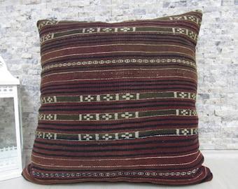 "Nomadic Cushion Wool Kilim Pillow 28"" x 28"" Floor Cushion Kilim Rug Pillows Turkish Pillow Boho Pillow Aztec Pillow Bohemian Pillow"