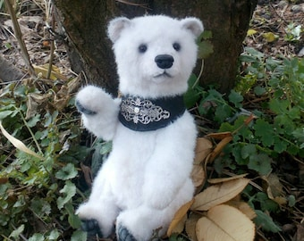 Teddy bear Lumi, 9.3 inches, Artist teddy bear, OOAK, polar bear, white bear, plush bear, collection  bear,