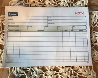 Numbered Invoice Sheets