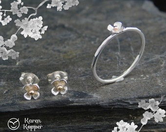 Cherry Blossom ring and earrings set - Small flower sterling silver ring, with a heart of 10k gold. Thin ring. Skinny ring. Stacking ring.