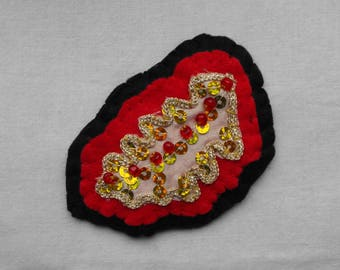 Upcycled Red and Gold Sequinned Leaf Brooch
