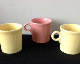 Post-1986 Fiestaware Tom & Jerry Mugs - Pale Yellow and Pink - Retired Colors - 3 Available!!