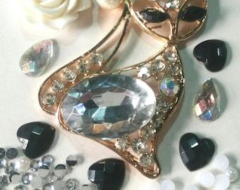 Metal cat fox mix flatbacks mix pearls gems cabachon card making scrap booking
