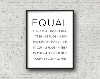 Equal Measurements (5x7, 8x10, 11x14 Prints Included!), Kitchen Decor, Cooking Decor, Kitchen Sign, Kitchen Art, Baking, Baking Gifts, Print