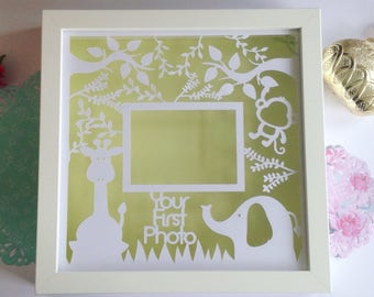Baby scan photo paper cut, baby shower gift, scan picture frame, new baby gift, pregnancy photo, home decor, wall art