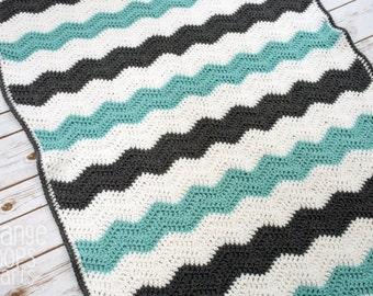 Chevron Baby Blanket - Handmade Crochet Zigzag Striped Baby Blanket or Photo Prop