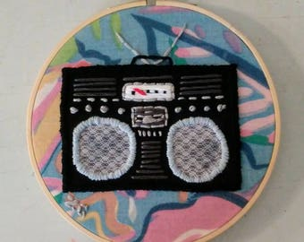 Boombox Embroidery Art