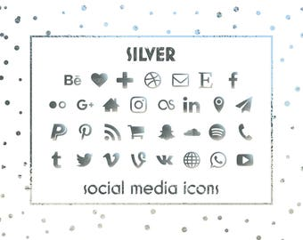Social Media Icons, Silver Icons, Silver Foil Buttons, Social icons, Website icons, Blog icons, Business cards icons, Resume icons