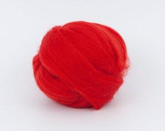 Red B223, 1.78oz (50gr) 26mic merino tops felting wool, for needle felting, wet felting, spinning.