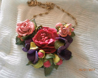 SPRING-spring BOUQUET in polymer clay in shades of pink and lilac