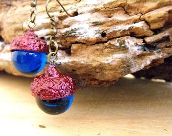 Red glitter crystal globe real acorn dangle earrings for girls romantic earrings nature inspired jewelry woodland earrings botanical earring