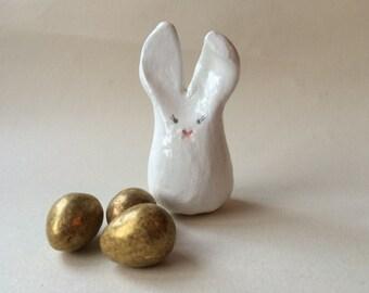 Hand painted clay bunny rabbit.