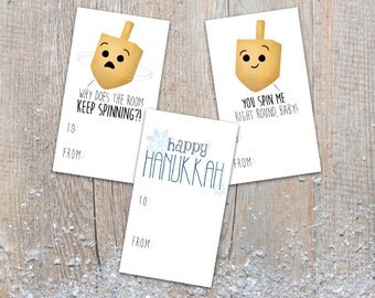 Digital Printable Gift Tags - Set of 3 Designs - Happy Hanukkah Gifts Funny Dreidel Pun Cute Labels Puns Dreidels Spin Me Right Round Song