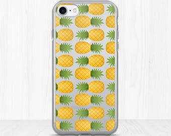 Pineapple Pattern - Clear iPhone Case - Fun Summer Print Patterns Sweet Pineapples Tropical Fruit Food Fruits Hot Tropics Beach Phone Cases