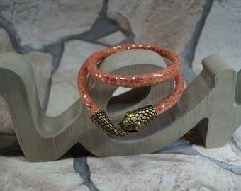 """Bracelet """"Pink snake"""" fabric"""