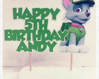 Paw Patrol--Inexpensive Personalized Cake Toppers with Name & Character--Kid's Birthday Party Decorations