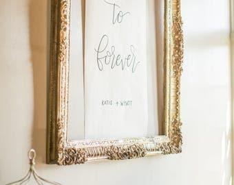 Custom Handlettered Calligraphy Banner - Custom Scroll - Wedding Detail - Special Event Backdrop - Event Banner - Scroll Table Runner