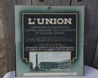 French Vintage 1920s Insurance Advertising Poster/ L'Union French Ad Poster/Vintage French Ad Business Card Holder/French Ephemera Poster