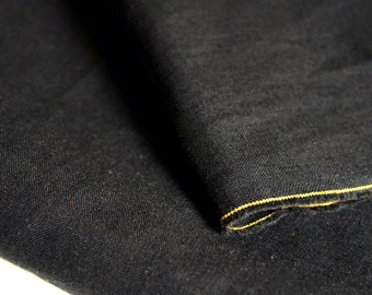 Black Organic Linen Organic Cotton Fabric by 1/4 Metre,  Organic Woven Fabric, Linen Fabric, Cotton Fabric, Solid Black Fabric, Eco-friendly