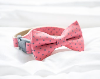 Sherbert Pink and Gray Dot Bow Tie Collar