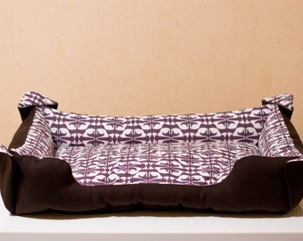 Small dog bed. Cat bed. Purple brown. Cotton