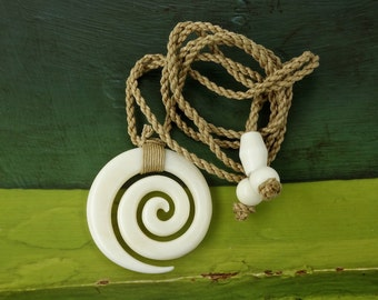 Koru Spiral Pendant Necklace, Hand Carved Bone, Lashed Cord, Tribal Surfer, Free Shipping