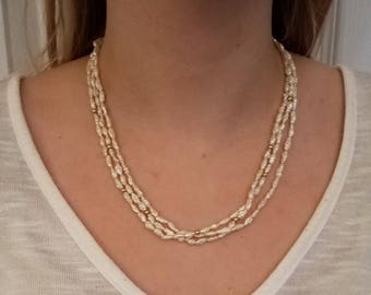 """14k Gold Closure/Beads with Rice Pearls 18"""""""