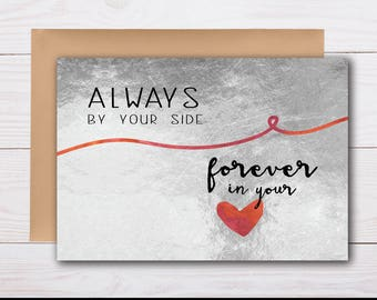 always by your side, forever in your heart - sympathy card, grief card, bereavement card