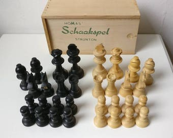 Wood Chess Set, Genuine d'Echecs Staunton, Vintage French Wooden Chess Set, Chess Gift
