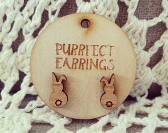 Handmade wooden bunny rabbit easter stud earrings