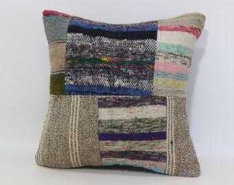 20x20 Cotton Kilim Pillow 20x20 Cushion Cover Vintage Kilim Pillow Sofa Pillow Bed Pillow Boho Cushion Cover Ethnic Pillow Cover SP5050-1086