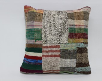 Decorative Turkish Kilim Pillow 20x20 Patchwork Kilim Pillow Bed Pillow Sofa Pillow Fllor Pillow Throw Pillow SP5050-1170