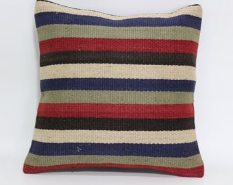 Turkish Striped Kilim Pillow Throw Pillow 16x16 Decorative Kilim Pillow Bed Pillow Home Decor Cushion Cover SP4040-1779