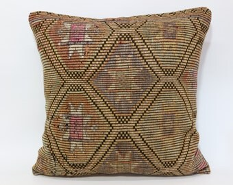 28x28 Naturel Embroidered Kilim Pillow Throw Pillow 28x28 Turkish Kilim Pillow Large Pillow Ethnic Pillow Sofa Pillow SP7070-362