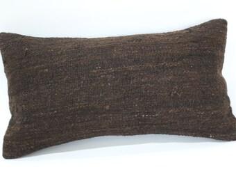 Naturel Brown Kilim Pillow Throw Pillow Sofa Pillow 10x20 Lumbar Kilim Pillow Sofa Pillow Ethnic Pillow Turkish Pillow  SP3050-830