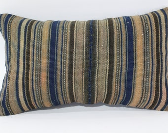10x20 Striped Kilim Pillow Fllor Pillow Ethnic Pillow 10x20 Handwoven Kilim Pillow Sofa Pillow Ethnic Pillow Cushion Cover SP3050-852