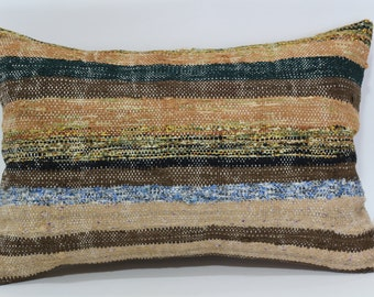 16x24 Cotton Kilim Pillow Throw Pillow Sofa Pillow 16x24 Bohemian Kilim Pillow Striped Kilim Pillow Cushion Cover SP4060-397