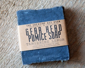 Gear Head Pumice Bar ~ Dirty Mechanic's Soap ~ Exfoliating Citrus Scent, Grease Cutting, Scrub soaps, Gift for Mechanic, Presents for Men